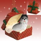 RGBD26A Shih Tzu, Gray Red Gift Box Ornament