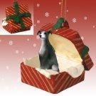 RGBD54B Greyhound, Gray Red Gift Box Ornament