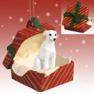 RGBD92A Whippet, White Red Gift Box Ornament