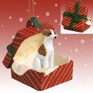 RGBD92B Whippet, Brindle & White Red Gift Box Ornament