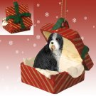 RGBD95 Bearded Collie Red Gift Box Ornament