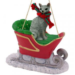 SLC07 Cornish Rex Blue Sleigh Ride Ornament