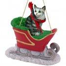 SLC16 Maine Coon Silver Tabby Sleigh Ride Ornament