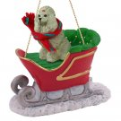 SLD01B Poodle, Gray Sleigh Ride Ornament