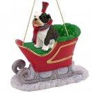 SLD05B Bulldog, Brindle Sleigh Ride Ornament