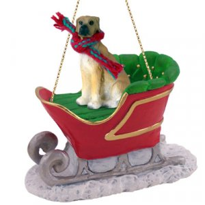 SLD100B Great Dane, Fawn, Uncropped Sleigh Ride Ornament