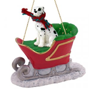 SLD100C Great Dane, Harlequin, Uncropped Sleigh Ride Ornament