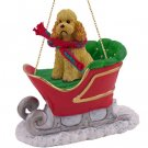 SLD104C Poodle, Apricot, Sport cut Sleigh Ride Ornament