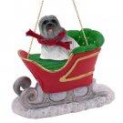 SLD10A Lhasa Apso, Gray Sleigh Ride Ornament