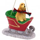SLD121C English Cocker Spaniel, Blonde Sleigh Ride Ornament