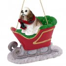 SLD15D Cocker Spaniel, Brown & White Sleigh Ride Ornament