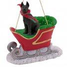 SLD16A Great Dane, Black Sleigh Ride Ornament