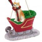 SLD17C Husky, Red & White, Blue Eyes Sleigh Ride Ornament