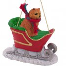 SLD21B Chow, Red Sleigh Ride Ornament