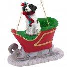 SLD27A Brittany, Liver & White Sleigh Ride Ornament