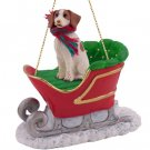 SLD27B Brittany, Brown & White Sleigh Ride Ornament