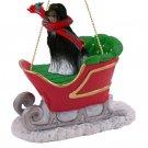 SLD28A Afghan Black & White Sleigh Ride Ornament