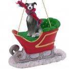SLD54B Greyhound, Gray Sleigh Ride Ornament