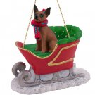 SLD57B Min Pin, Red & Brown Sleigh Ride Ornament