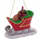 SLD60A Dachshund, Longhaired, Red Sleigh Ride Ornament
