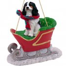 SLD80B Cavalier King Charles, Black & White Sleigh Ride Ornament