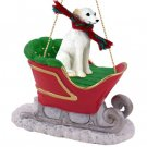 SLD92A Whippet, White Sleigh Ride Ornament