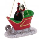 SLD95 Bearded Collie Sleigh Ride Ornament