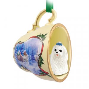STCD34 Maltese Sleigh Ride Holiday Tea Cup Ornament
