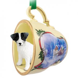 STCD63B Jack Russell Terrier, Black & White, Rough Coat Sleigh Ride Holiday Tea Cup Ornament