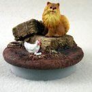 """DTTC03A Pomeranian, Red Tiny One Candle Topper """"""""A Day on the Farm"""""""""""