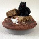 """DTTC03B Pomeranian, Black  Tiny One Candle Topper """"""""A Day on the Farm"""""""""""