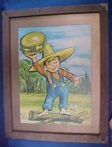 Vintage 1970 Country Kitchen Boy Original Wall Art Frmd