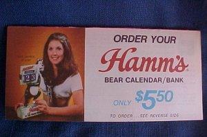 Vintage 1973 Hamm�s Beer Bear Calendar Bank Offer Form