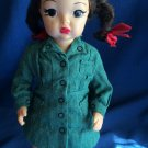 "Vintage Brunette Terri Lee 16"" Doll & Tagged Girl Scout Dress Bright Red Lips"