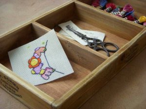 Vintage Wood 3 compartments Box