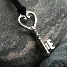 Antique Silver Heart Skeleton Key Charm Necklace (5 keys and 13 cord color to choose)