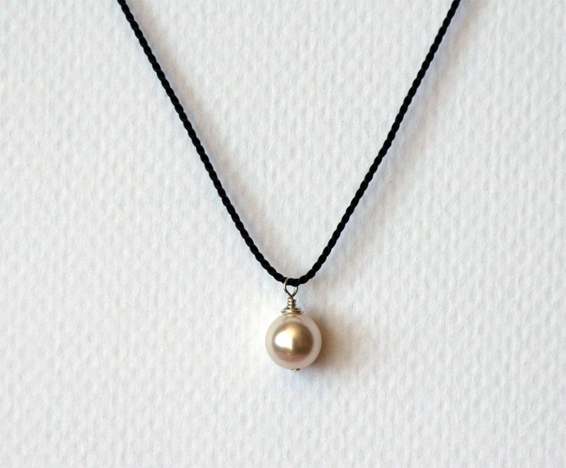 Pearl Necklace on silk cord with Sterling Silver Clasp (5 colors)