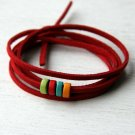 Suede Cord Bracelet with Wooden Beads (Set of 2) (13 colors to choose)