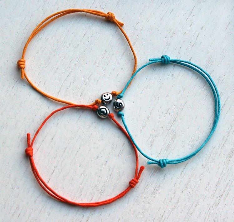 Heart Bracelet - Initial Bracelet - Smiley Face Bracelet (many colors to choose)
