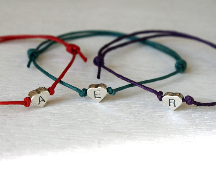 Sterling Silver Heart Initial Bracelet (many colors to choose)