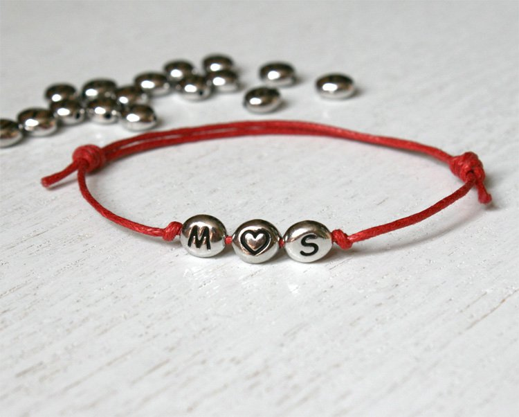 Triple Beads Heart Initial Bracelet (many color to choose)