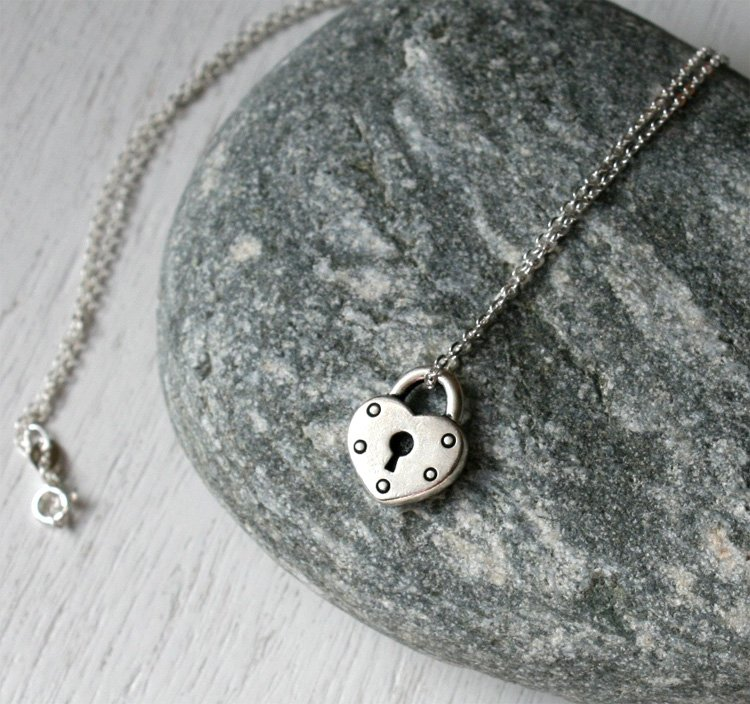 Heart Lock Necklace on Sterling Silver Chain