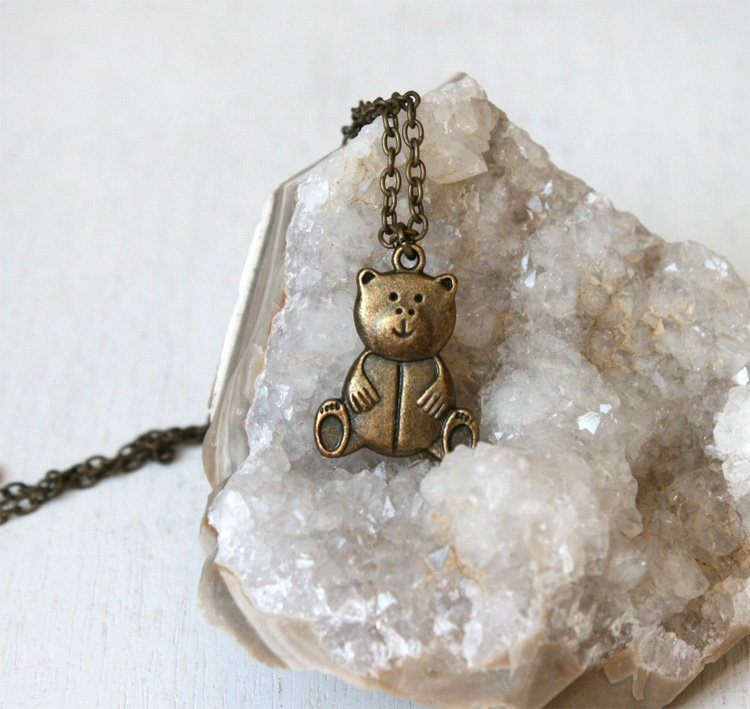 Antique Brass Little Bear Necklace