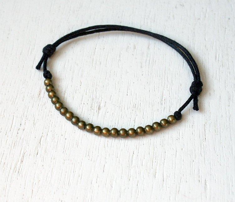Antique Brass Beads Bracelet or Bead Anklet (24 colors)