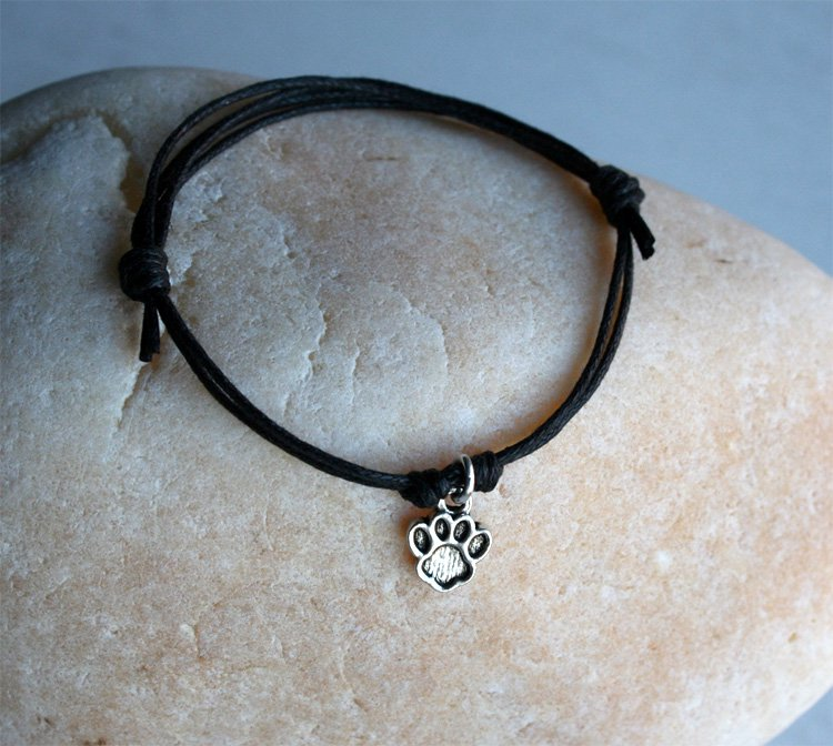 Paw Print Bracelet or Paw Print Anklet (many colors to choose)