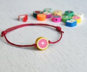 Fruit Bead Bracelet or Fruit Bead Anklet (many colors to choose)