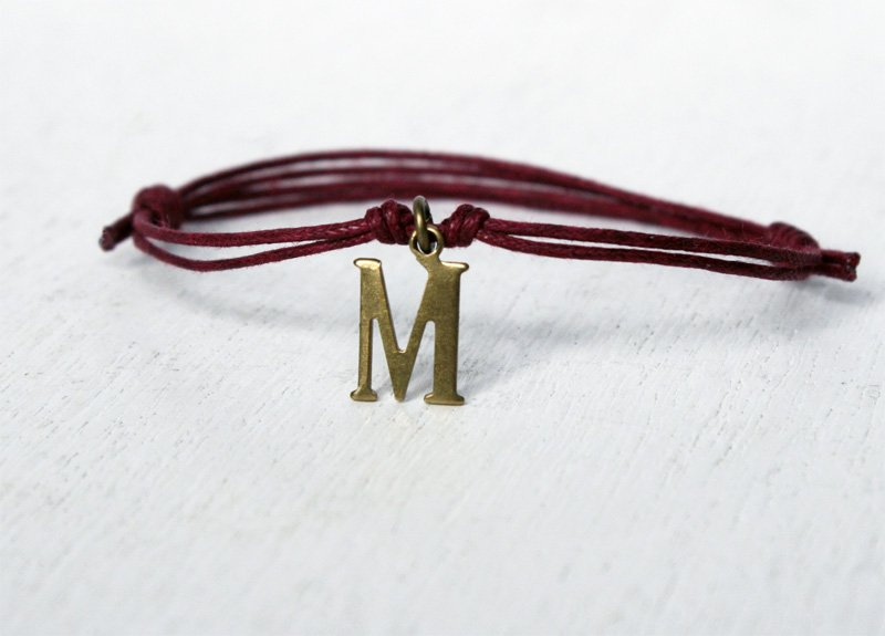 Brass Initial Letter Bracelet (many colors to choose)