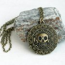 Antique Brass Skull Plate Necklace