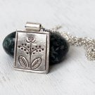 Hill Tribe Silver Flower Picture Pendant Necklace