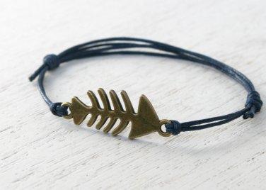 Fish Skeleton Bracelet / Fish Skeleton Anklet (Many colors to choose)